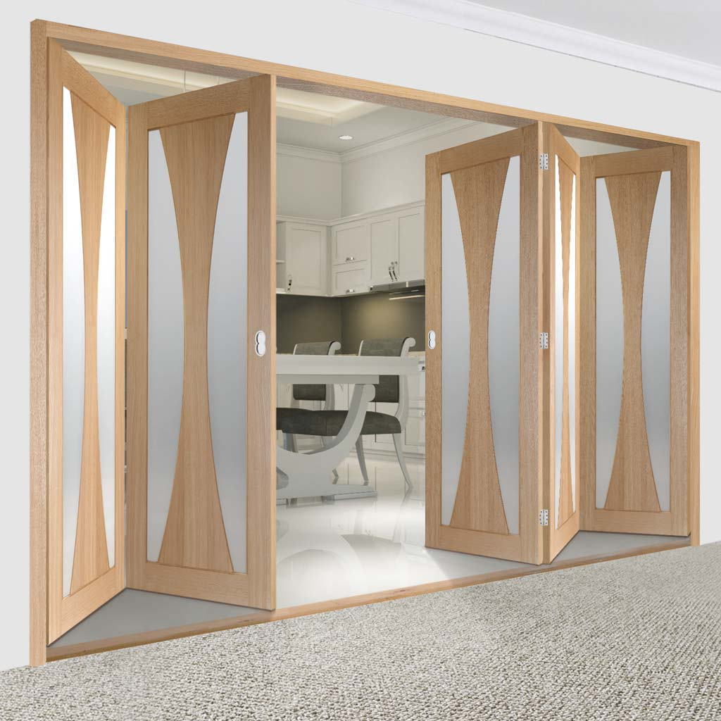 Bespoke Thrufold Verona Oak Glazed Folding 3+2 Door - Prefinished