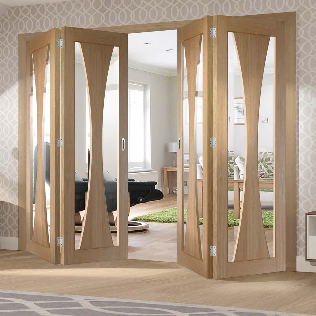 Four Folding Doors & Frame Kit - Verona Oak 2+2 - Clear Glass - Prefinished