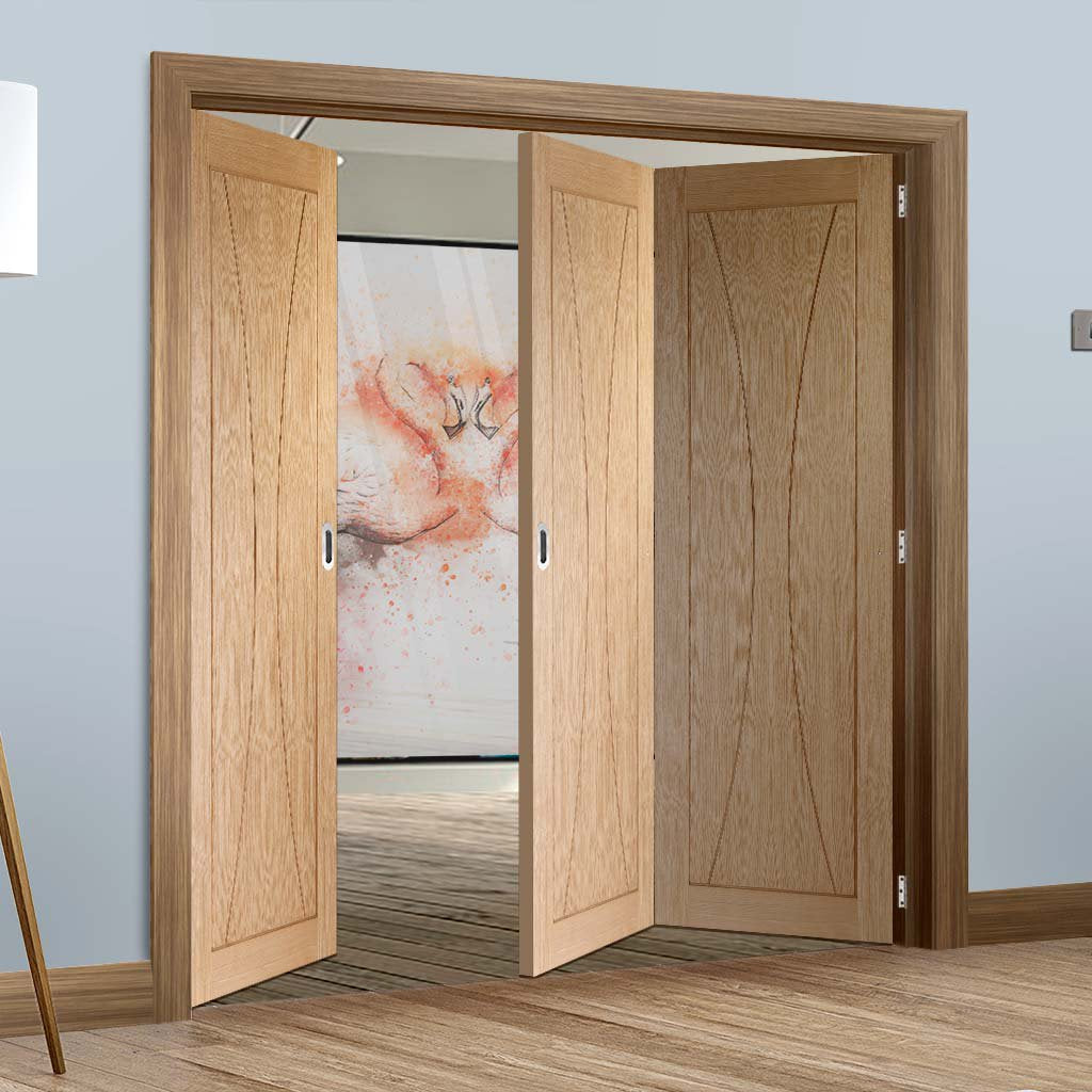 Three Folding Doors & Frame Kit - Verona Oak Flush 2+1 - Prefinished