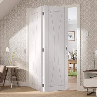 Image: Bespoke Thrufold Verona White Primed Flush Folding 2+0 Door