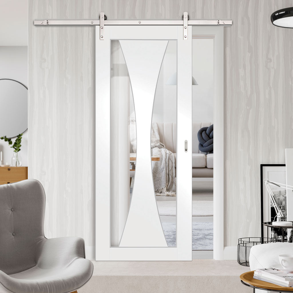 Single Sliding Door & Straight Stainless Steel Track - Verona Door - Clear Glass - White Primed