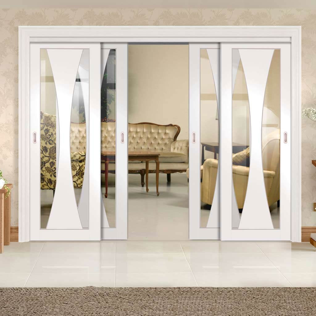 Four Sliding Doors and Frame Kit - Verona Door - Clear Glass - White Primed