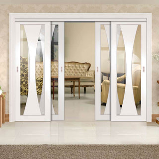 Image: Four Sliding Doors and Frame Kit - Verona Door - Clear Glass - White Primed