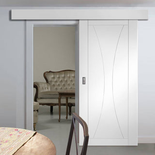 Image: Thruslide Surface Verona Flush - Sliding Door and Track Kit - White Primed