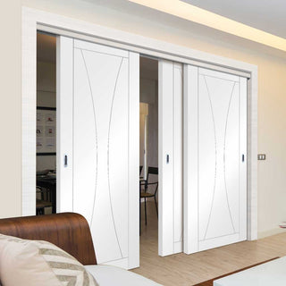 Image: Three Sliding Doors and Frame Kit - Verona Flush Door - White Primed
