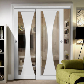 Image: Two Sliding Doors and Frame Kit - Verona Door - Clear Glass - White Primed