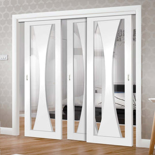 Image: Three Sliding Doors and Frame Kit - Verona Door - Clear Glass - White Primed