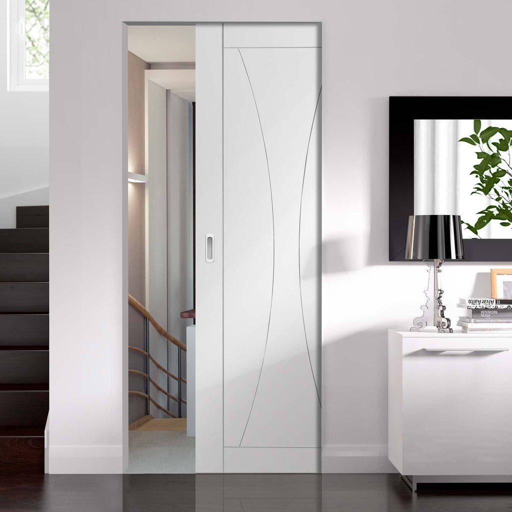 Bespoke Verona Flush Single Frameless Pocket Door - White Primed