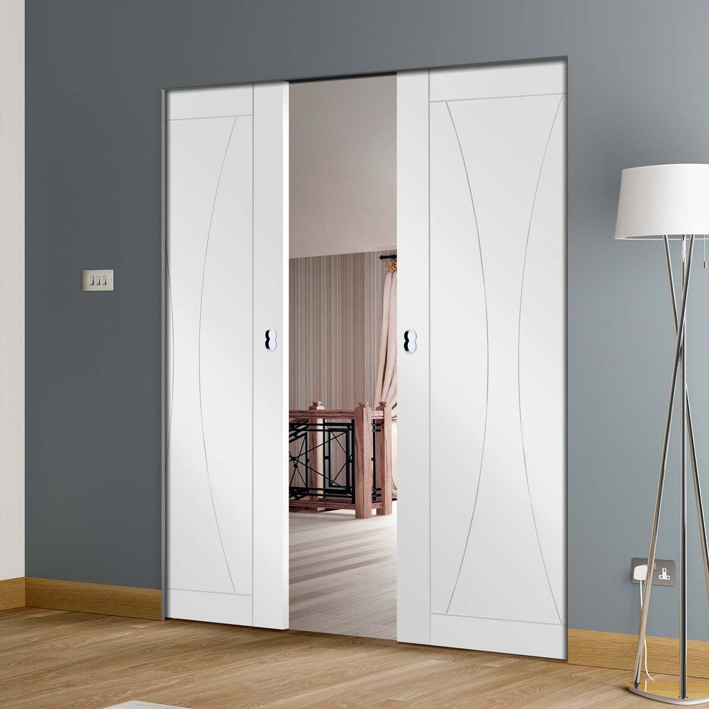Verona Flush Absolute Evokit Double Pocket Door - Primed