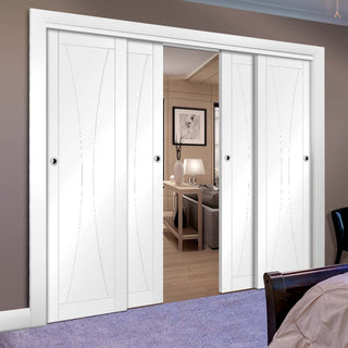 Image: Four Sliding Doors and Frame Kit - Verona Flush Door - White Primed