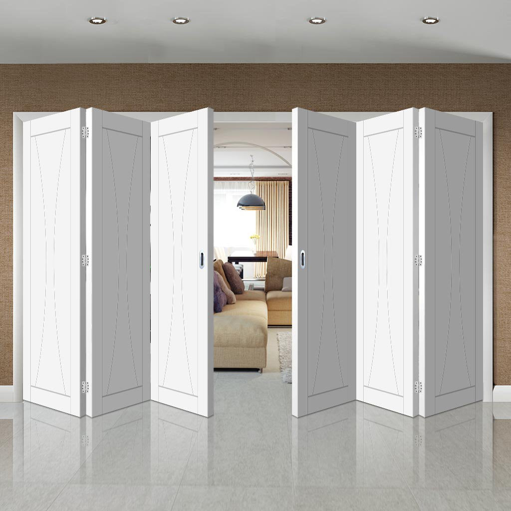 Bespoke Thrufold Verona White Primed Flush Folding 3+3 Door
