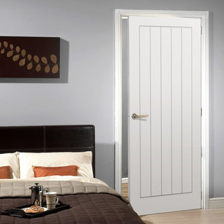 Image: Textured Vertical 5 Panel Door - White Primed
