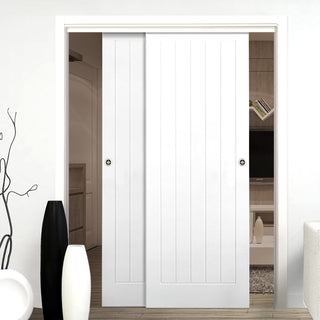 Image: Two Sliding Doors and Frame Kit - Textured Vertical 5 Panel Door - White Primed
