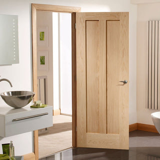 Image: Fire Rated Novara 2 Panel Oak Door - 1/2 Hour Fire Rated