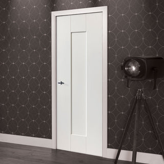 Image: JBK White Shaker Axis Primed Panel Door - 30 Minute Fire Rated