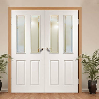 Image: Simpli Double Door Set - Victorian Door - Grained - Forbes Etch Glass - White Primed