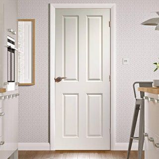 Image: Simpli Door Set, Victorian 4 Panelled Door - Grained - Primed