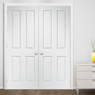 Image: Simpli Double Door Set - Victorian 4 Panel Door - Grained - White Primed