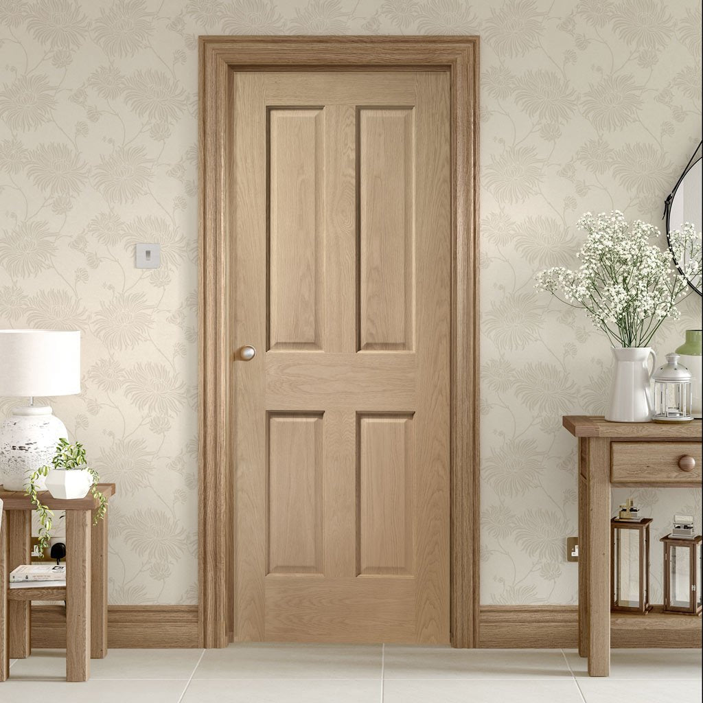 Bespoke Victorian Oak 4 Panel Door - No Raised Mouldings - Prefinished