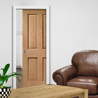 Image: Victorian Oak 4 Panel Single Evokit Pocket Door - No Raised Moulding