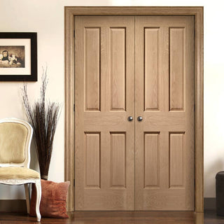 Image: Bespoke Victorian Oak 4 Panel Door Pair - No Raised Mouldings - Prefinished