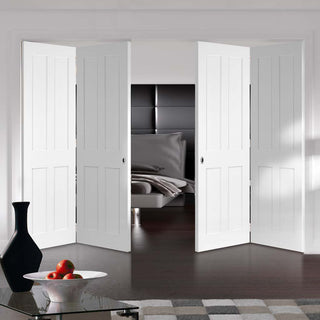 Image: Four Folding Doors & Frame Kit - Victorian Shaker 4 Panel 2+2 - White Primed