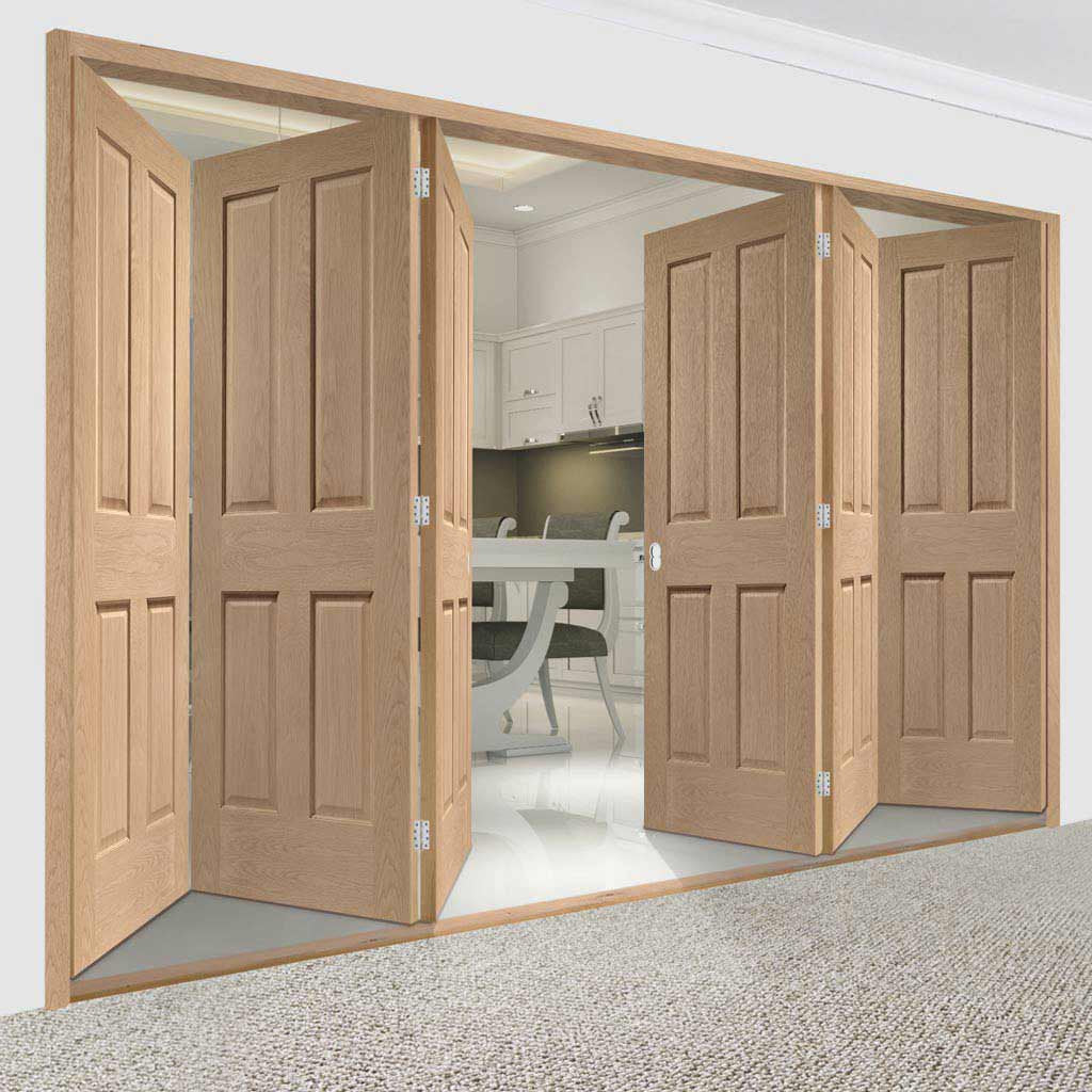 Bespoke Thrufold Victorian Oak 4 Panel Folding 3+3 Door - No Raised Mouldings
