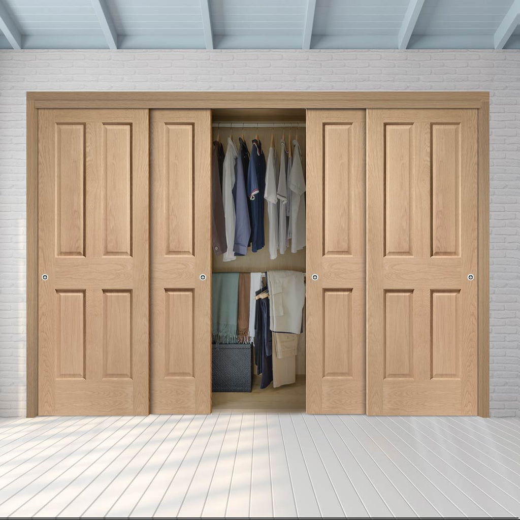Four Sliding Wardrobe Doors & Frame Kit - Victorian Oak 4 Panel Door - No Raised Mouldings - Prefinished