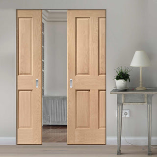 Image: Victorian Oak 4 Panel Absolute Evokit Double Pocket Door - No Raised Moulding - Prefinished
