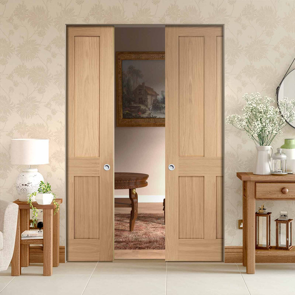 Victorian 4 Panel Oak Shaker Absolute Evokit Double Pocket Door
