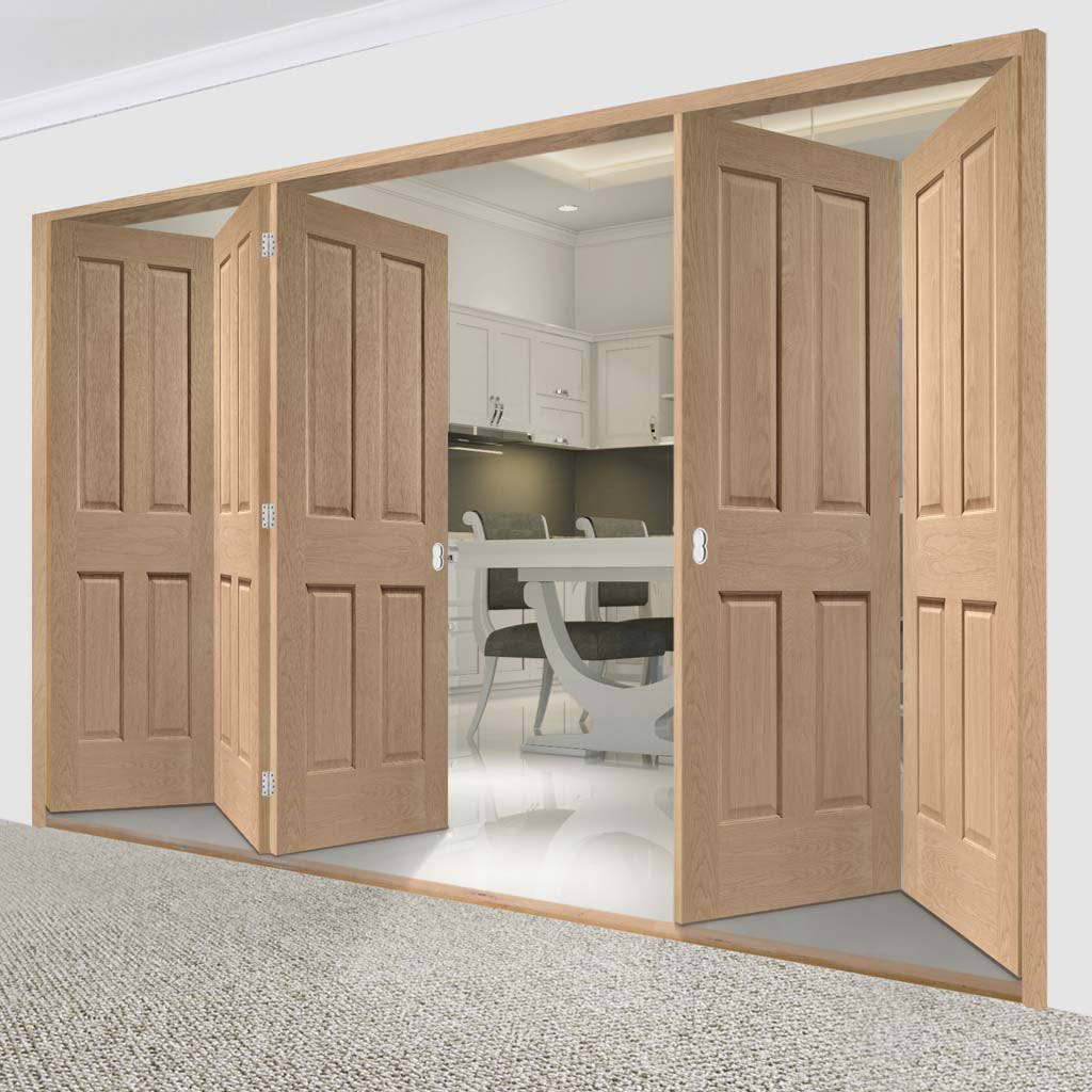 Bespoke Thrufold Victorian Oak 4 Panel Folding 3+2 Door - No Raised Mouldings - Prefinished