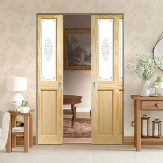 Image: Victorian Clear Pine Absolute Evokit Double Pocket Door - Campion Clear Etch Glass
