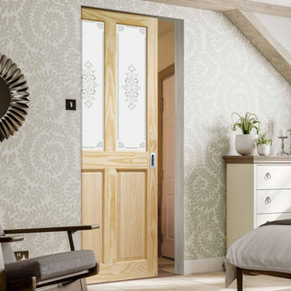 Image: Victorian Clear Pine Absolute Evokit Pocket Door - Campion Clear Etched Glass