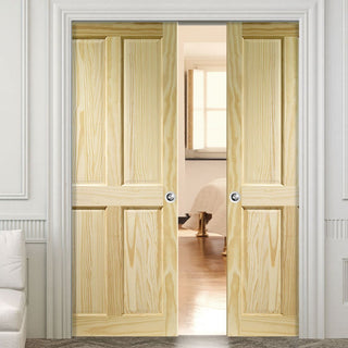 Image: Victorian 4 Panel Pine Double Evokit Pocket Doors