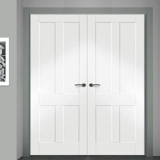 Image: Simpli Double Door Set - Victorian Shaker 4 Panel Door - White Primed