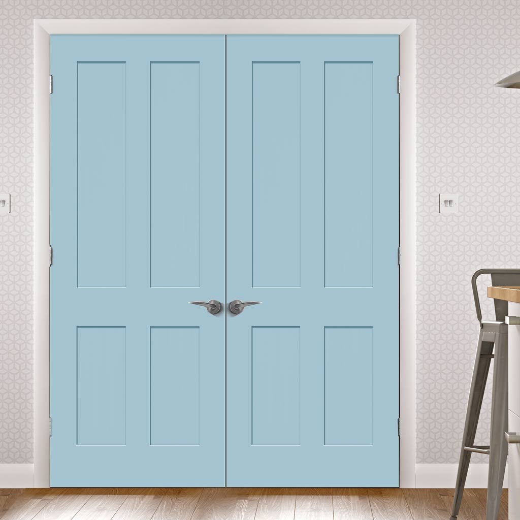 Prefinished Bespoke Victorian Shaker 4 Panel Door Pair - Choose Your Colour