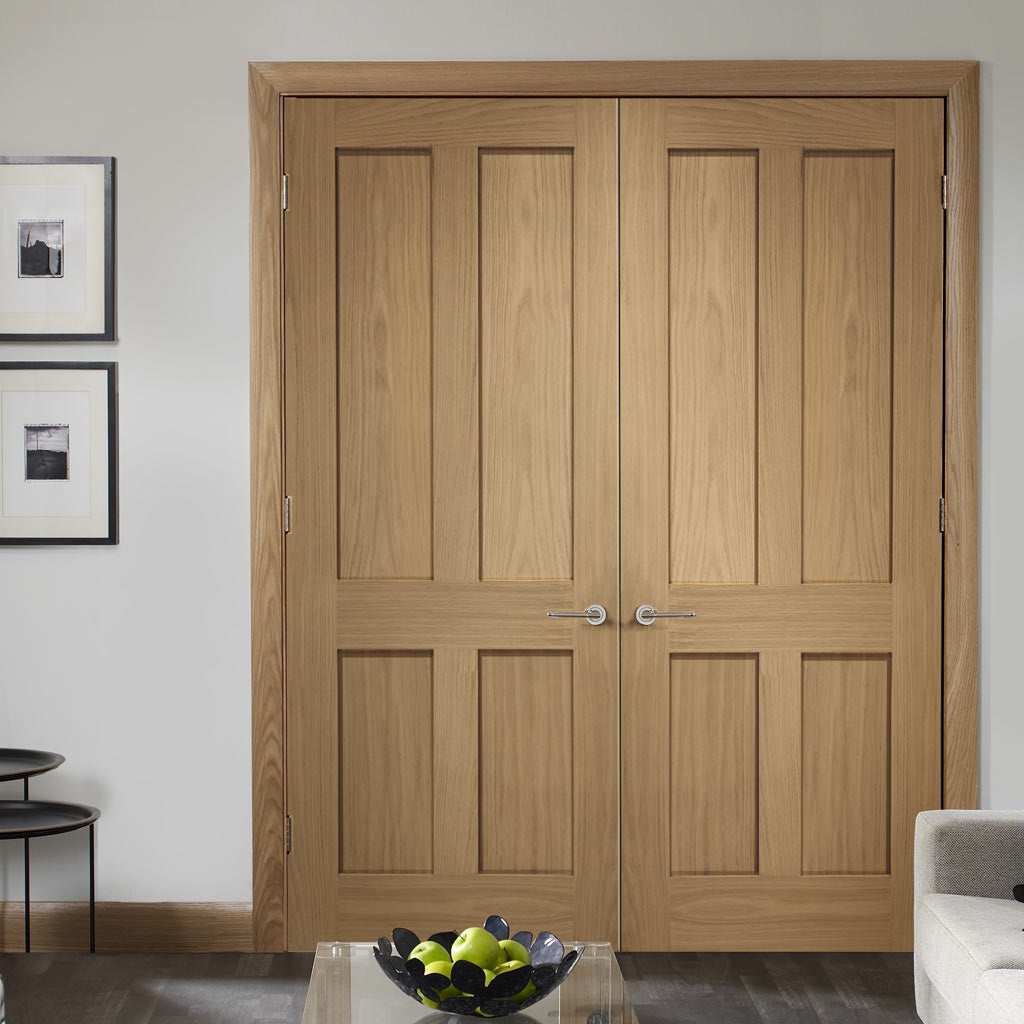 Fire Rated Victorian Shaker Oak Door Pair - 1/2 Hour Fire Rated