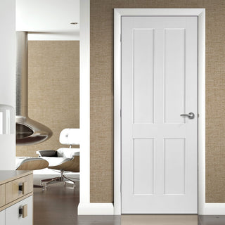 Image: Bespoke Victorian Shaker 4 Panel Fire Door - 1/2 Hour Fire Rated and White Primed