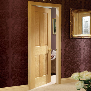 Image: door set kit regency 4 panelled oak door prefinish