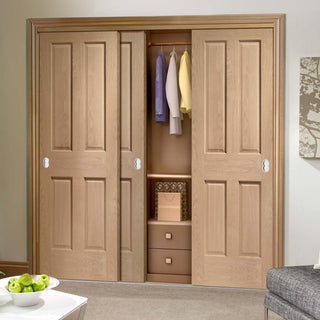 Image: Bespoke Thruslide Victorian Oak 4 Panel 3 Door Wardrobe and Frame Kit