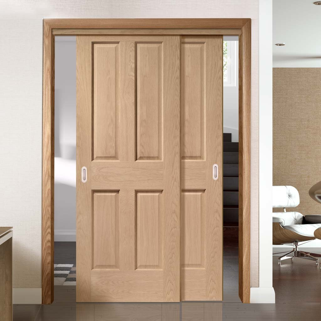 Two Sliding Doors and Frame Kit - Victorian Oak 4 Panel Door - No Raised Mouldings - Prefinished