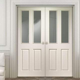 Image: Simpli Double Door Set - Victorian Door - Clear Glass - White Primed