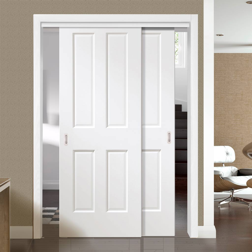 Two Sliding Doors and Frame Kit - Victorian White Door - Prefinished