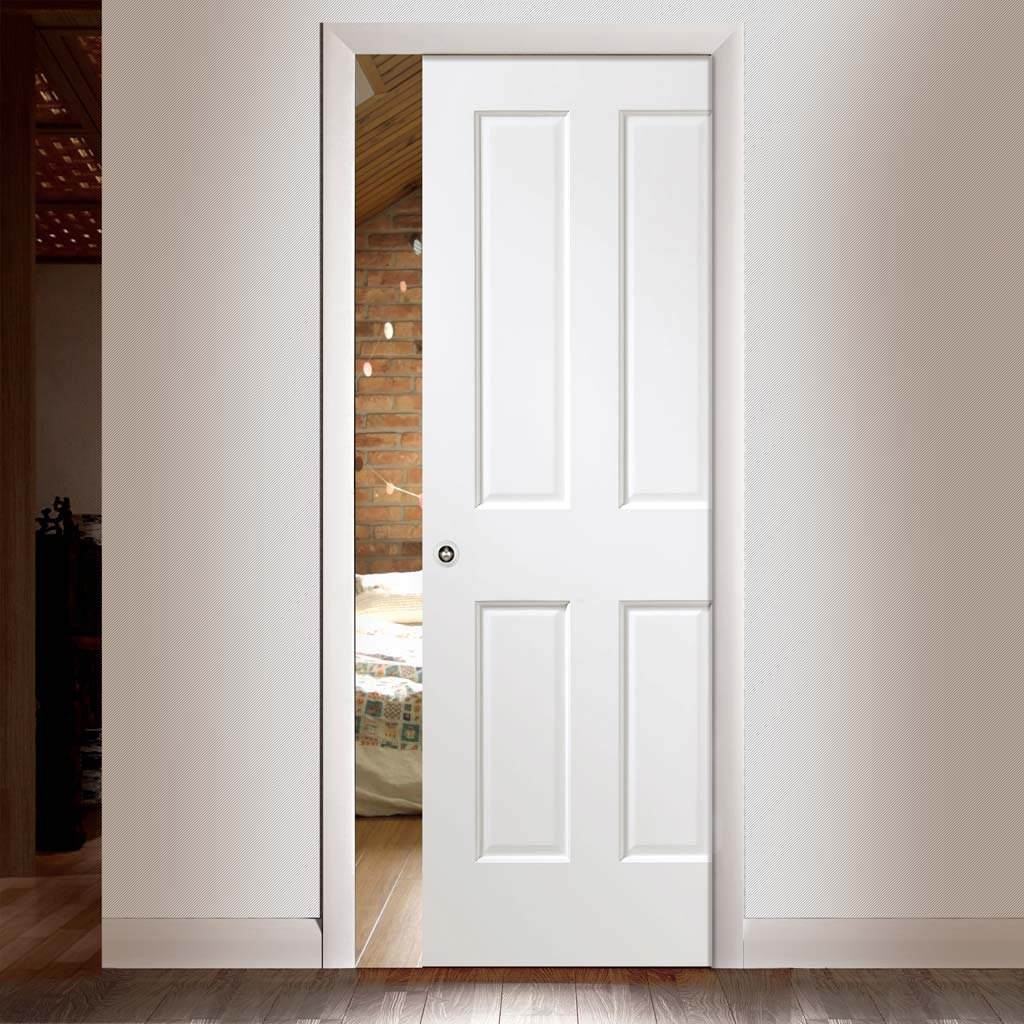 Victorian White Single Evokit Pocket Door - Prefinished