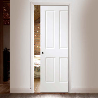Image: Victorian White Single Evokit Pocket Door - Prefinished