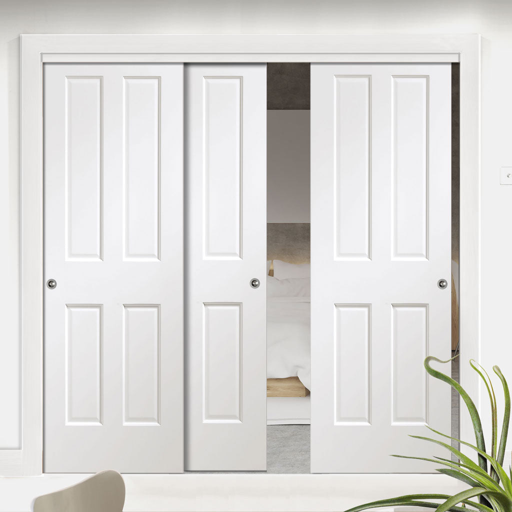 Three Sliding Doors and Frame Kit - Victorian White Door - Prefinished