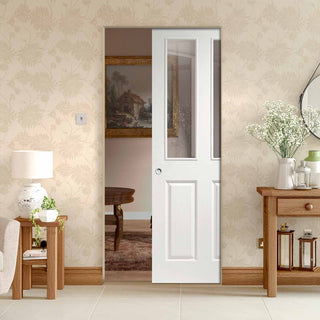 Image: Victorian Absolute Evokit Pocket Door - Clear Glass - Primed