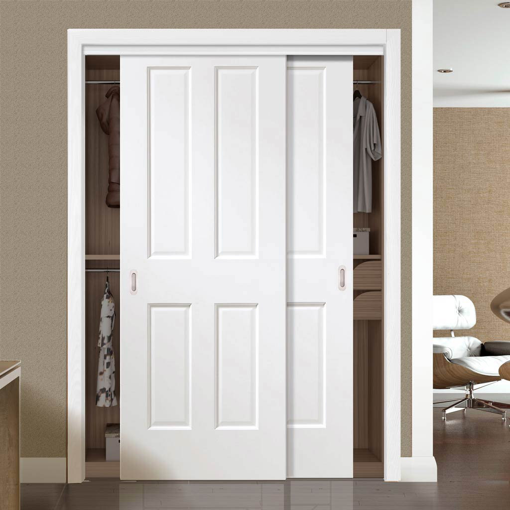 Minimalist Wardrobe Door & Frame Kit - Two Victorian White Door - Prefinished