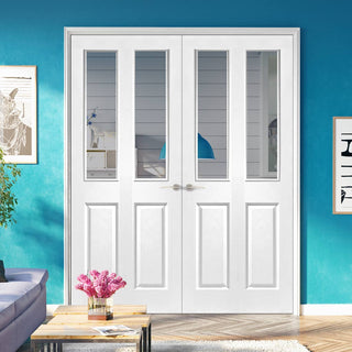 Image: Victorian Door Pair - Clear Glass - White Primed