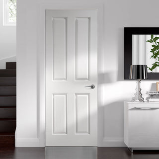 Image: Victorian 4 Panel Door - Woodgrained Surfaces - White Primed